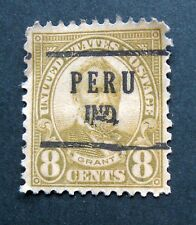 Sc # 640 ~ Used ~ 8 cent Ulysses S. Grant ~ Peru, Ind. ~ Pre-cancel