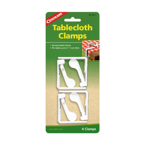 """4 SPRING LOADED TABLECLOTH CLAMPS FITS TABLES UP TO 2/"""" THICK DURABLE PLASTIC!"""
