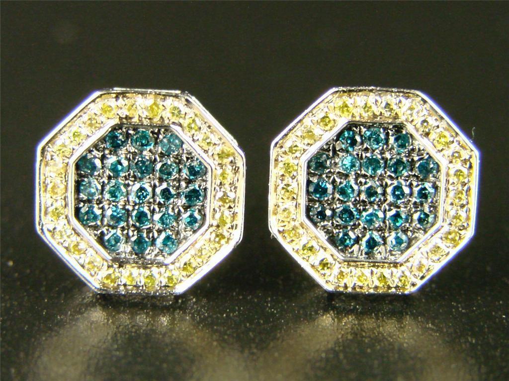Mens Ladies Hexagon bluee Diamond Stud Earrings 10 Mm