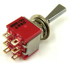 Replacement AMS Double pole (DPDT) toggle switch, flat polished chrome lever S1