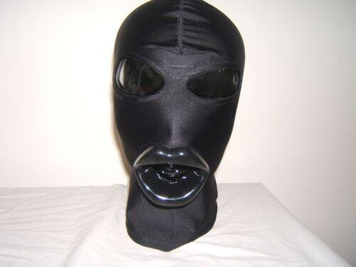 Nero o Rosa Taglia M Nero Spandex sadomaso maschera con lattice Sissy labbra in Rosso