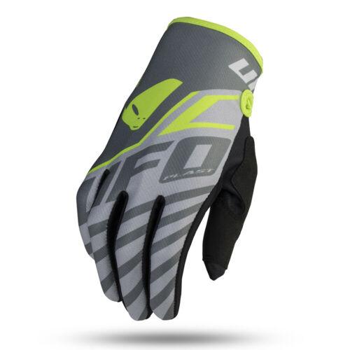 UFO Vanadium Motocross Race Gloves Grey Neon Yellow All Sizes