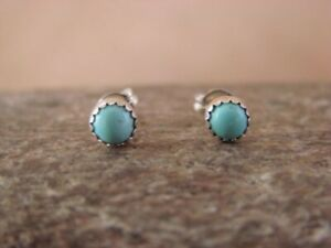 SMALL-Native-American-Sterling-Silver-Turquoise-Dot-Post-Earrings