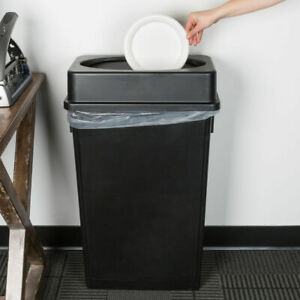 Details about 23 Gallon Heavy Duty Black Plastic Slim Restaurant Kitchen  Trash Can Swing Lid