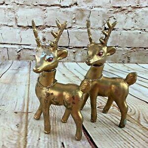 Vintage-Pair-of-Plastic-Deer-Made-in-Hong-Kong-Gold-1960-039-s-6-5-034-H