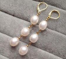 Elegant Women S Fashion White Akoya Pearl 14k Gold Leverback Dangle Earrings