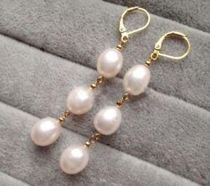 Elegant-Women-039-s-Fashion-White-Akoya-Pearl-14k-Gold-Leverback-Dangle-Earrings