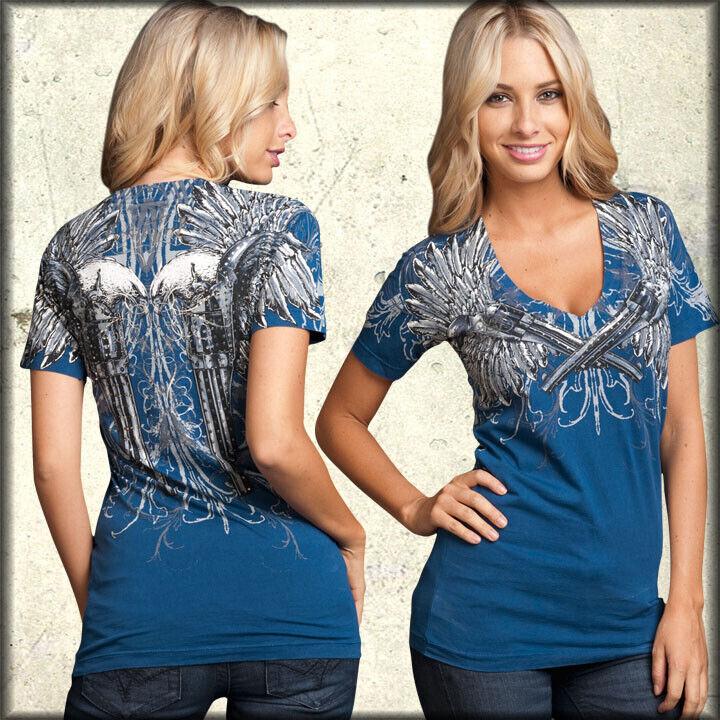 Sinful FAITHFUL damen V-Neck Top S NWT NEW T-Shirt Guns Affliction Rhinestones
