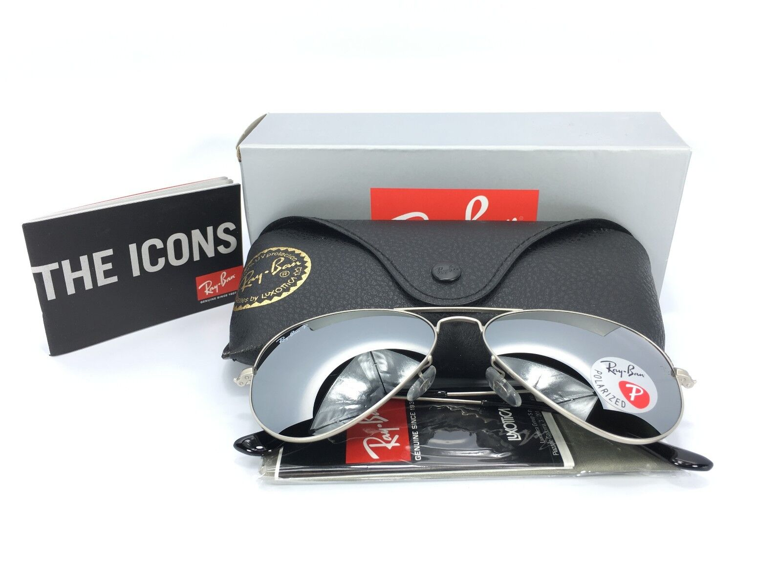 Details about Ray Ban RB3025 019W3 Polarized Silver Aviator Mirror Sunglasses