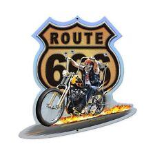 Plasma Cut Route 666 Flammen Chopper Skelett Retro Sign Blechschild Schild NEU
