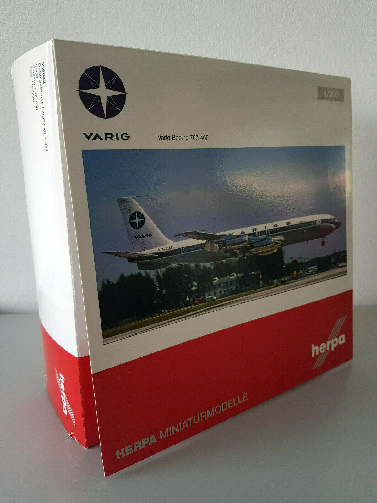 1 200 Herpa, 556842 Limited Varig Boeing 707-400 Registration PP-vja NEUF RARE