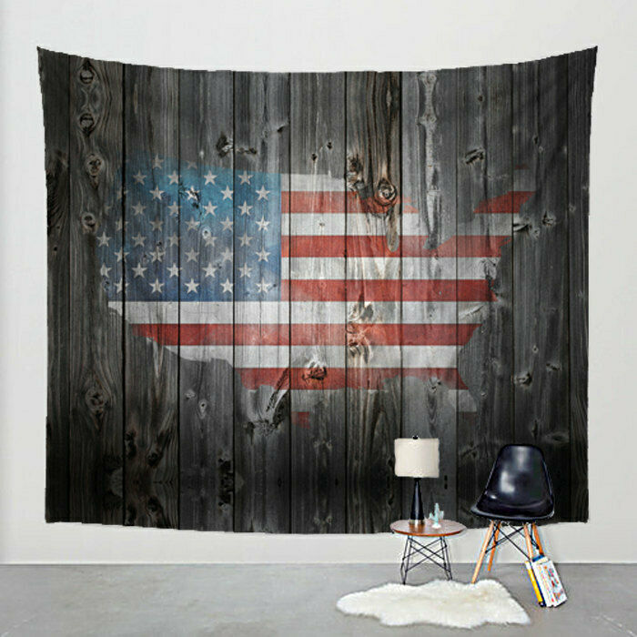 American Flag Map US Tapestry Sepia Barn Wood on Fabric Art Print Wall Hanging