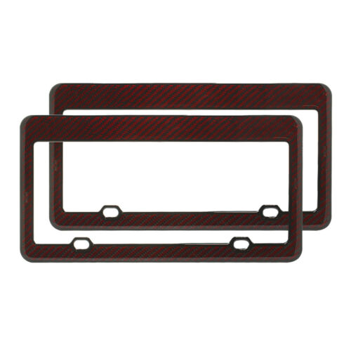 2X Universal US Standard Gloss Dark Red Carbon Fiber License Plate Frame Cover
