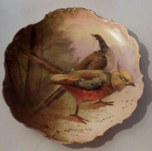 Plato-Porcelana-de-Limoges-Decoracion-Con-Faisanes-French-Pheasants