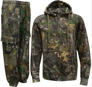 Mens Jungle Camouflage Fishing Hunting Fleece Zip Hoodie Jacket Plus Sizes S-5XL