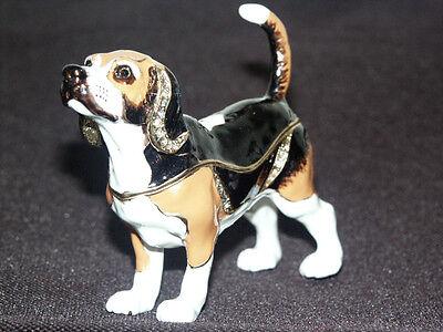 Gehorsam Beagle Hund Schmuck Objekt Pillendose Ring Schatulle Rassehund Etui Geschenk