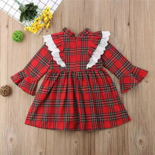 Toddler Kids Baby Girls Christmas Romper Tops Ruffle Plaid Dress Outfits Sets UK