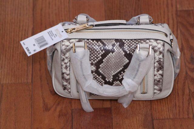 6cdc2141cec508 NWT Michael Kors $398 Julia Small Embossed Python Satchel Handbag Purse Ecru