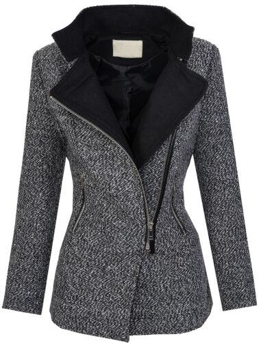 Designer damen winter mantel jacke melierter woll parka beige grau blau D-253