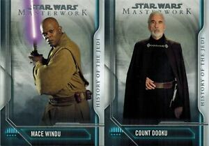 STAR-WARS-Masterwork-2018-Lot-2-History-of-the-Jedi-Cards-HJ-2-3-see-scan