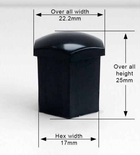 bimecc 20 X 17 Mm Negro Universal Rueda de la aleación Pernos Lugs NUTS Tapas Cubre