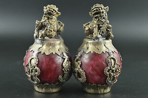 China-Old-Miao-Silver-Carve-Kylin-Dragon-Phoenix-Inlay-Red-Jade-Rare-Pair-Statue