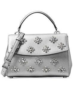f7585bce62857 NWT Michael Kors AVA JEWEL SMALL TH Saffiano Leather Satchel Bag In ...