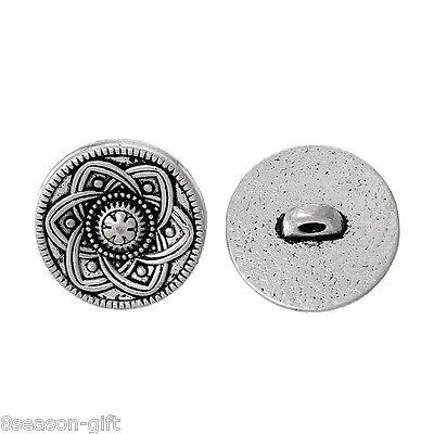30pcs Silver Tone Flower Decorative Metal Buttons Fit Sewing Scrapbook 15mm