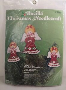Angel Ornaments For Christmas Tree.Details About Vintage Bucilla Christmas Tree Top Angel Ornaments Kit Set Of 3 Felt Sequin 2829