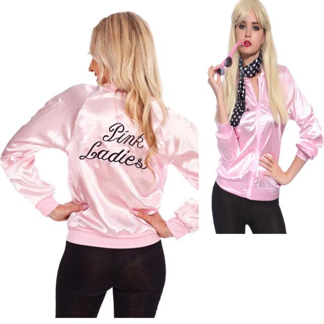 Halloween Pink Lady Jacket Retro Grease Women Costume Hen Team Uniform Dress