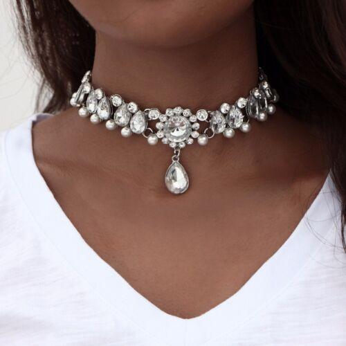 Fashion Women Jewelry Crystal Diamante  Silver Choker Pendant Statement Necklace