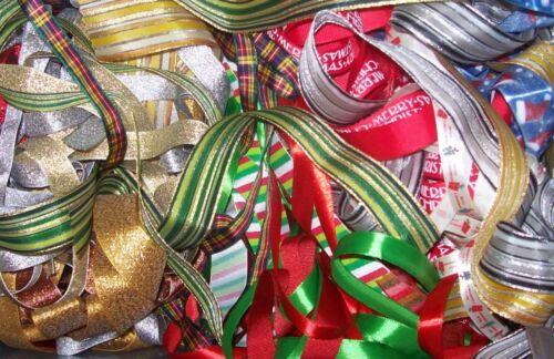 50 x 1 metre of Assorted Random Christmas Theme Mixed Ribbon Off Cuts Bundle