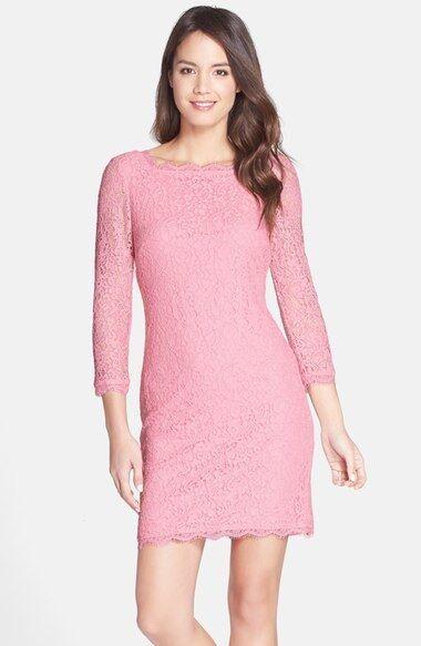 Adrianna Papell LACE OVERLAY 3 4 SLEEVE PINK SHEATH DRESS sz 12