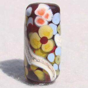 VERA-Handmade-Art-Glass-Floral-Focal-Bead-Flaming-Fools-Lampwork-Art-Glass-SRA