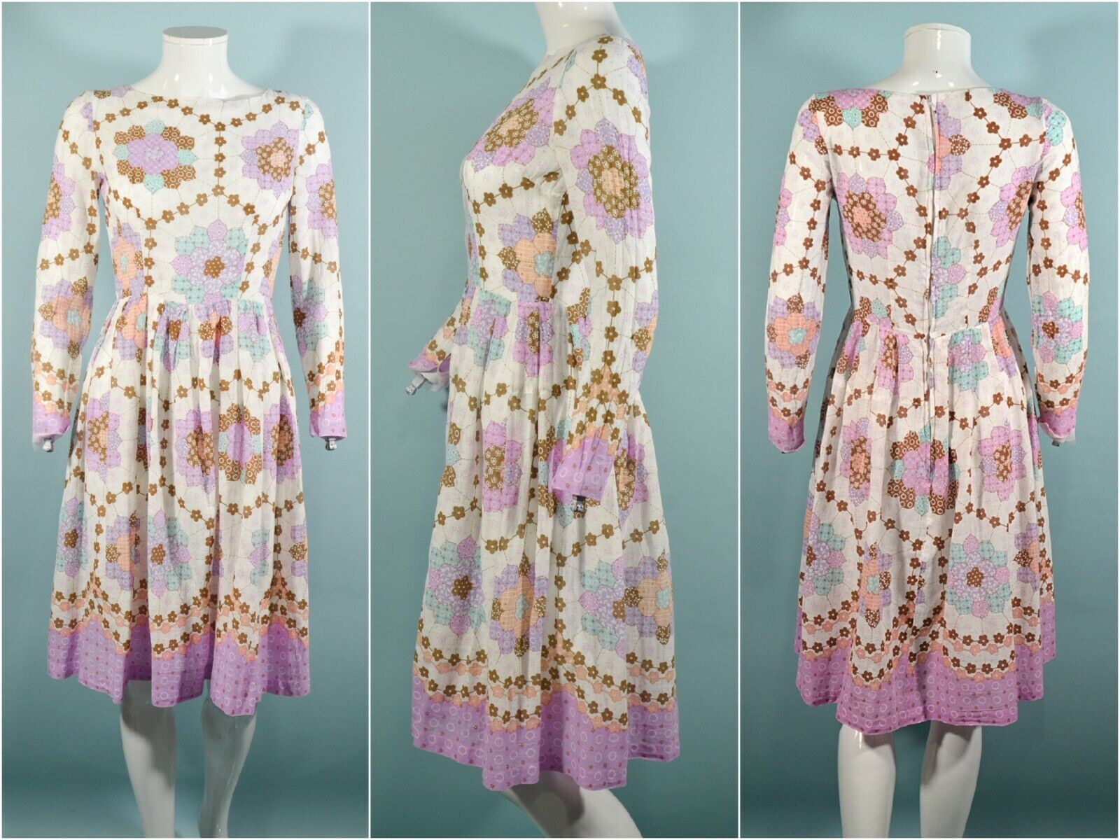 Vintage 60s/70s Faux Patchwork Hippie Dress, Cott… - image 1