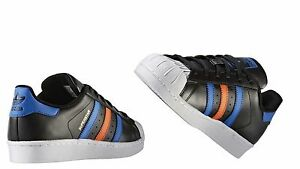 sports shoes ead91 066a6 Details about ADIDAS ORIGINALS Kids SUPERSTAR Core Black/Blue/Running White  BB0353