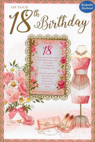 HAPPY 18TH  BIRTHDAY CARD,FEMALE SENTIMENTAL KEEPSAKE CARD**1ST CLASS POST** N9