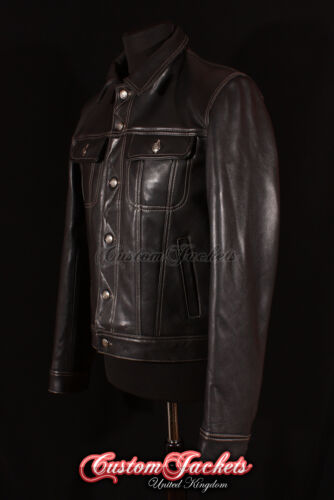 Beige De Real Cuir 'trucker' Stitch Vachette Homme Veste En Western Classique Noir 1RvIZ