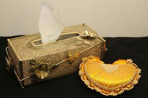 "10"" GOLD TONE REGENCY METAL TISSUE BOX COVER & 6"" HEART CROCHET PIN CUSHION"