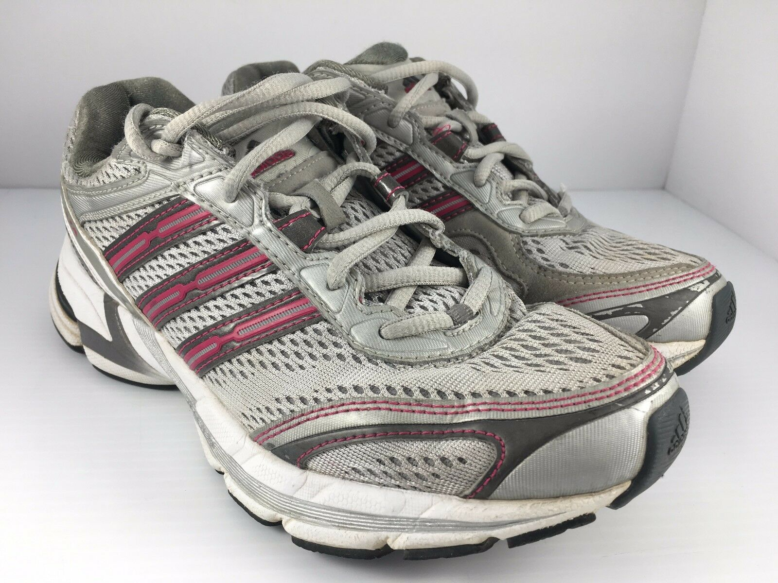 Adidas Supernova Glide 2 Women US 8 Silver Gray + Pink Athletic Running Shoes