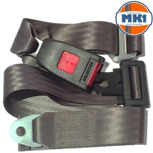 Austin Mini Classic Grey Chrome Buckle Lap Seat Belt 2 Adjustable Front Rear