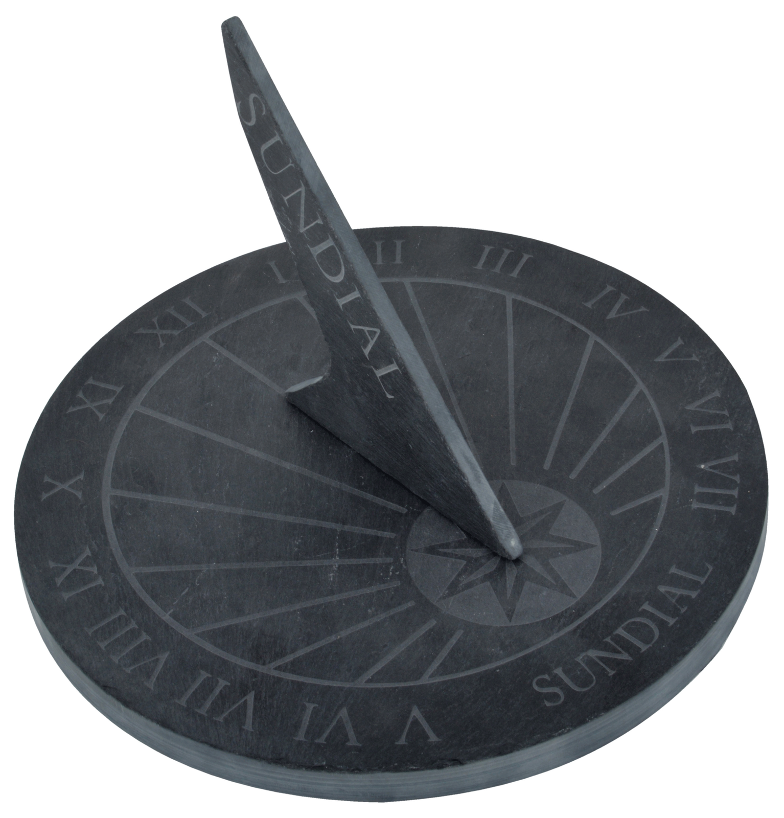 Sundial From Slate 25 CM Round Black Country Style Antique Garden - New