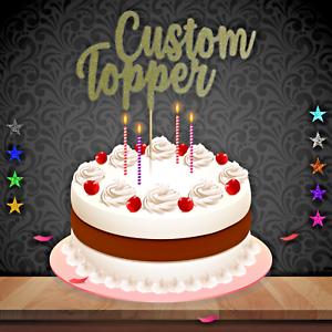 Cake-Topper-custom-wording-age-Glitter-Any-Name-Word-Personalised