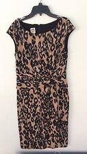 Anne Klein Dress Size 4 Animal Print Black Small