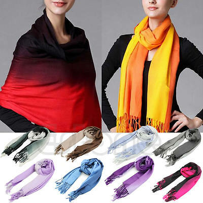 Women Long Pashmina Stole Tassels Winter Gradient Color Wool Scarf Shawl Wrap