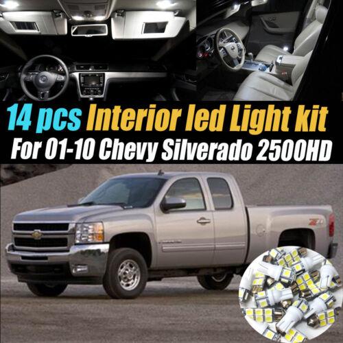 14Pcs White Interior LED Light Kit Pack for 2001-2010 Chevrolet Silverado 2500HD
