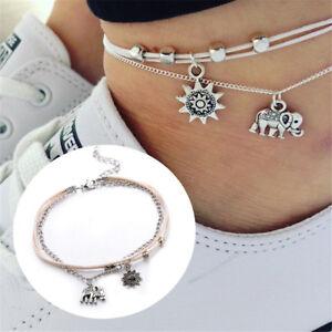 3pcs-Boho-Elephant-Sun-Ankle-Anklet-Bracelet-Foot-Chain-Beach-Jewelry-Gift