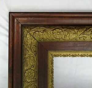 "ANTIQUE FIT 8""x 10"" OAK GOLD GILT  PICTURE FRAME FINE ART ORNATE VICTORIAN"