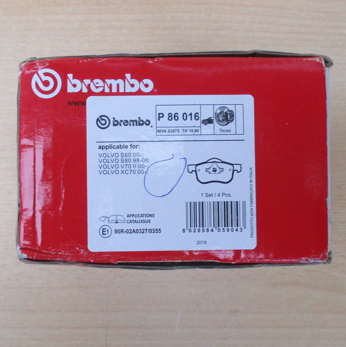 Brembo P 56 048 Bremsbelagsatz 4-teilig Scheibenbremse
