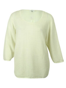 Calvin-Klein-Women-039-s-Three-Quarter-Sleeves-Ribbed-Knit-Sweater-2X-Birch
